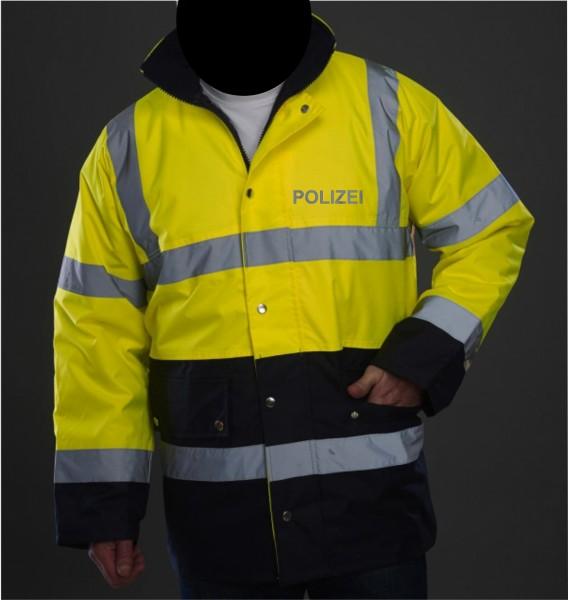2 Tone Motorway Jacket mit reflektierendem POLIZEI - Schriftzug auf Brust und Rücken