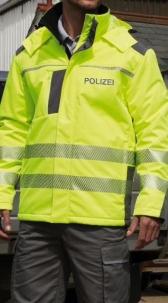 Dynamic SoftShell Coat mit reflektierendem POLIZEI - Schriftzug auf Brust und Rücken