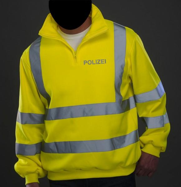 Hi Vis 1/4 Zip Sweat Shirt mit reflektierendem POLIZEI - Schriftzug auf Brust und Rücken
