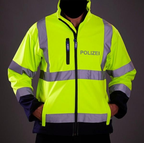 Hi-Vis Softshell Jacket mit reflektierendem POLIZEI - Schriftzug auf Brust und Rücken