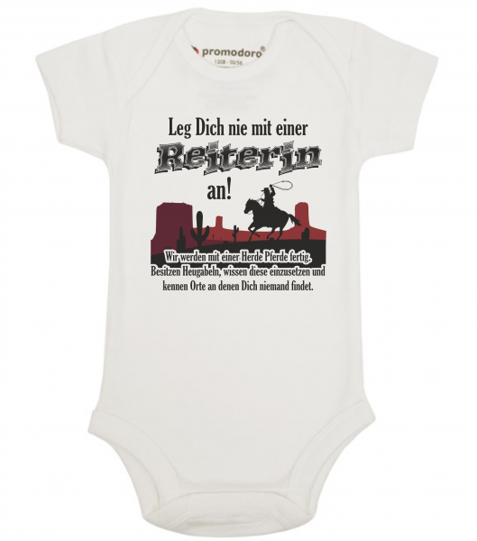 Organic Baby Bodysuit - Leg Dich nie mit einer Reiterin an!